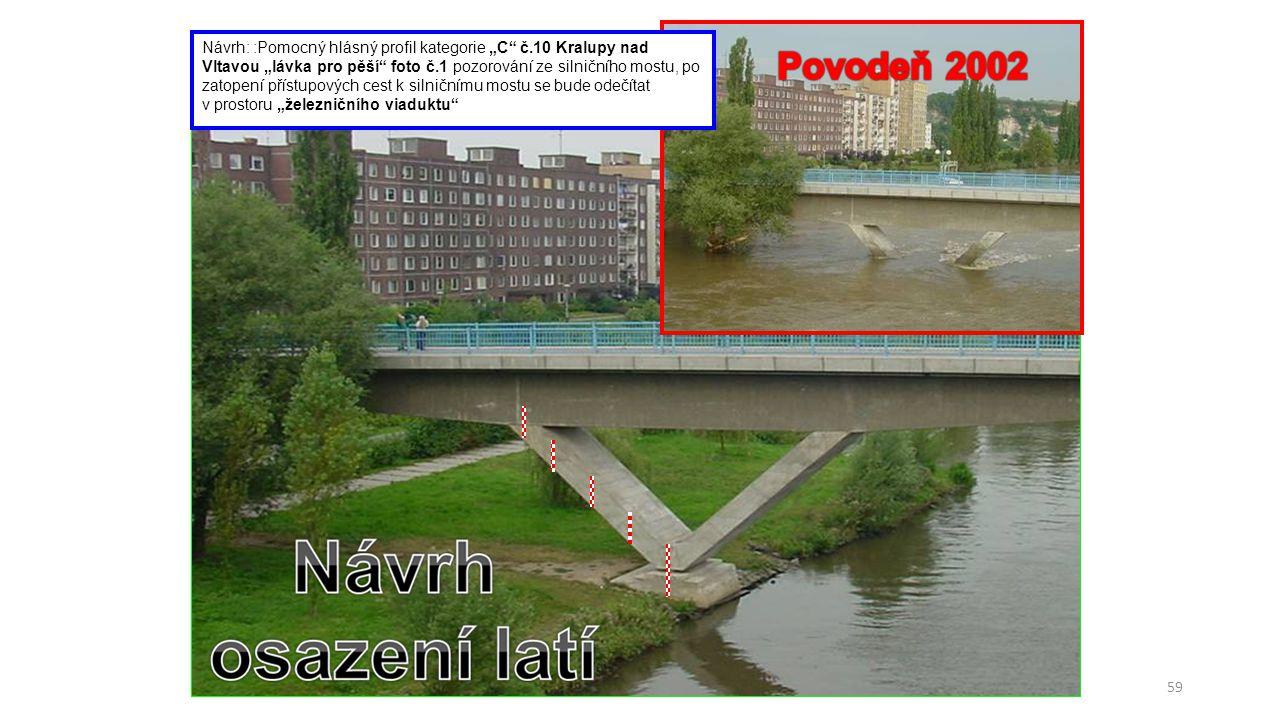 """59 Návrh: :Pomocný hlásný profil kategorie """"C"""" č.10 Kralupy nad Vltavou """"lávka pro pěší"""" foto č.1 pozorování ze silničního mostu, po zatopení přístupo"""