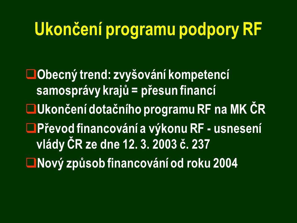 Ukončení programu podpory RF  Obecný trend: zvyšování kompetencí samosprávy krajů = přesun financí  Ukončení dotačního programu RF na MK ČR  Převod