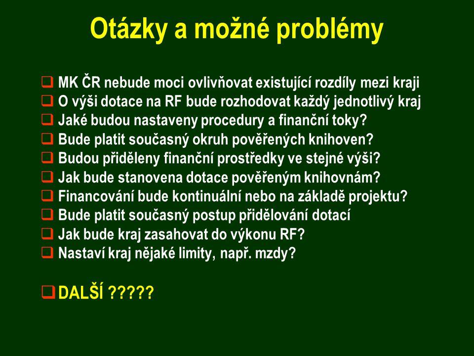 Otázky a možné problémy  MK ČR nebude moci ovlivňovat existující rozdíly mezi kraji  O výši dotace na RF bude rozhodovat každý jednotlivý kraj  Jak