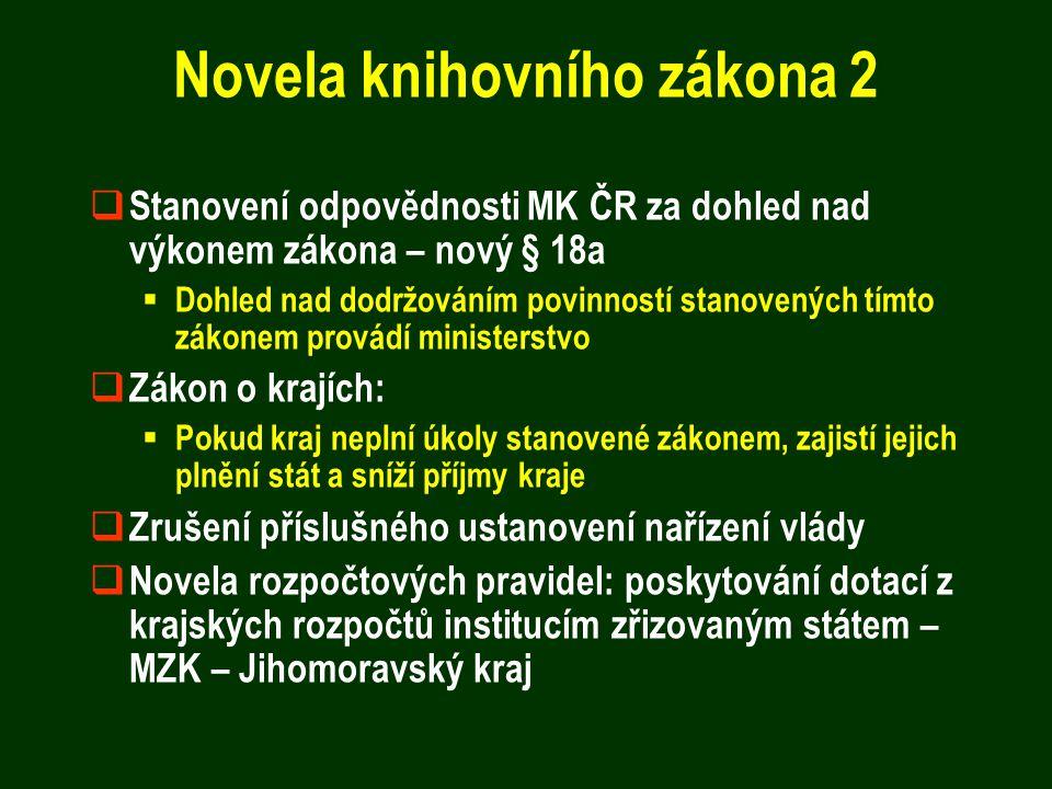 Novela knihovního zákona 2  Stanovení odpovědnosti MK ČR za dohled nad výkonem zákona – nový § 18a  Dohled nad dodržováním povinností stanovených tí