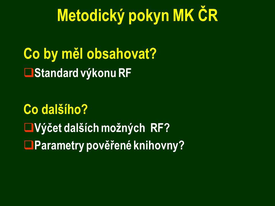Metodický pokyn MK ČR Co by měl obsahovat?  Standard výkonu RF Co dalšího?  Výčet dalších možných RF?  Parametry pověřené knihovny?