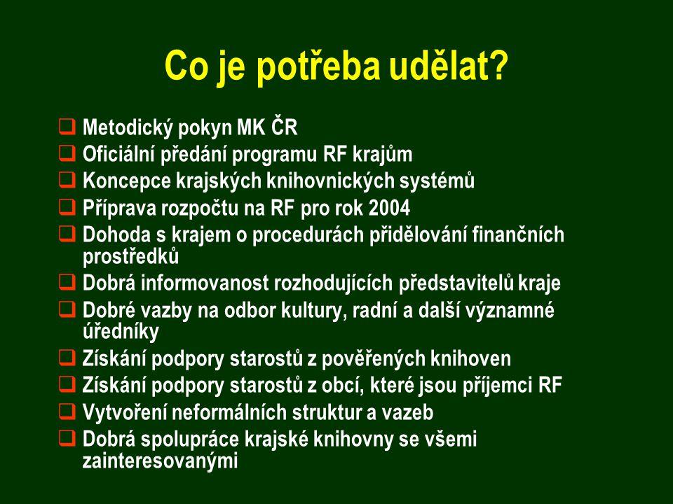 Co je potřeba udělat?  Metodický pokyn MK ČR  Oficiální předání programu RF krajům  Koncepce krajských knihovnických systémů  Příprava rozpočtu na