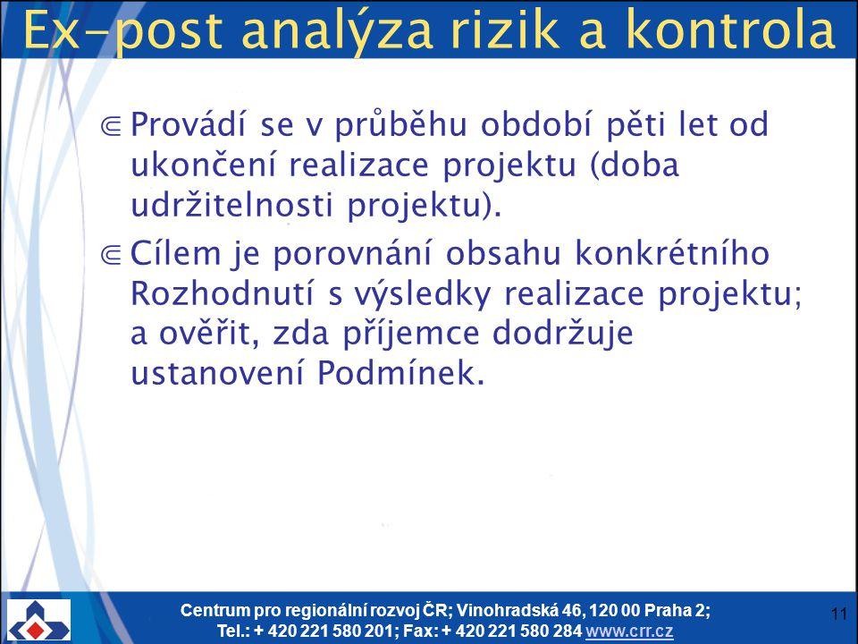 Centrum pro regionální rozvoj ČR; Vinohradská 46, 120 00 Praha 2; Tel.: + 420 221 580 201; Fax: + 420 221 580 284 www.crr.czwww.crr.cz 11 Ex-post anal
