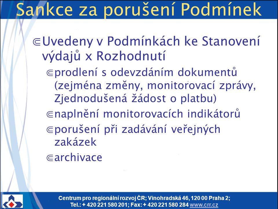 Centrum pro regionální rozvoj ČR; Vinohradská 46, 120 00 Praha 2; Tel.: + 420 221 580 201; Fax: + 420 221 580 284 www.crr.czwww.crr.cz Sankce za poruš
