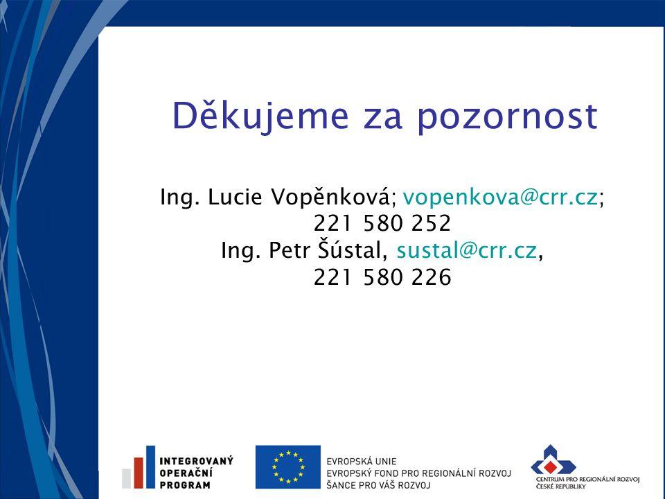Děkujeme za pozornost Ing. Lucie Vopěnková; vopenkova@crr.cz; 221 580 252 Ing. Petr Šústal, sustal@crr.cz, 221 580 226