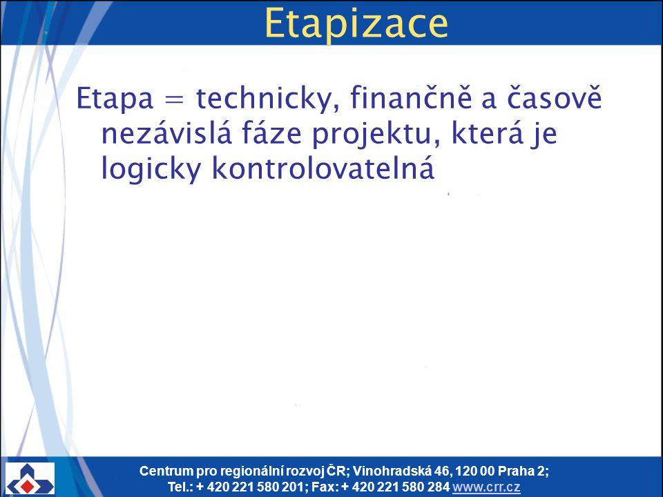 Centrum pro regionální rozvoj ČR; Vinohradská 46, 120 00 Praha 2; Tel.: + 420 221 580 201; Fax: + 420 221 580 284 www.crr.czwww.crr.cz Etapizace Etapa