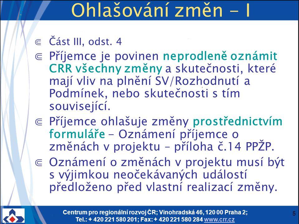 Centrum pro regionální rozvoj ČR; Vinohradská 46, 120 00 Praha 2; Tel.: + 420 221 580 201; Fax: + 420 221 580 284 www.crr.czwww.crr.cz 6 Ohlašování změn - II ⋐Změny se dělí na změny podstatné a nepodstatné (PPŽP str.