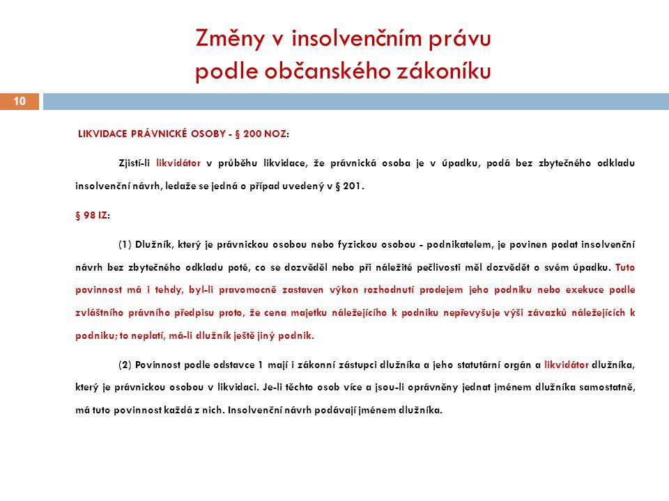 Změny v insolvenčním právu podle občanského zákoníku 10 LIKVIDACE PRÁVNICKÉ OSOBY - § 200 NOZ: Zjistí-li likvidátor v průběhu likvidace, že právnická