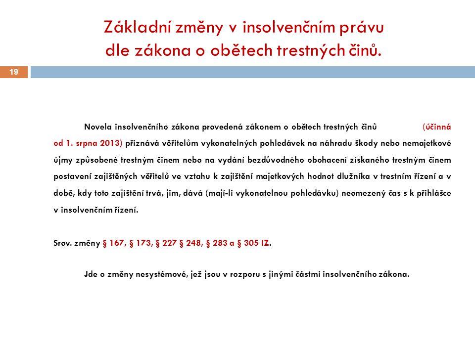 Základní změny v insolvenčním právu dle zákona o obětech trestných činů. 19 Novela insolvenčního zákona provedená zákonem o obětech trestných činů (úč