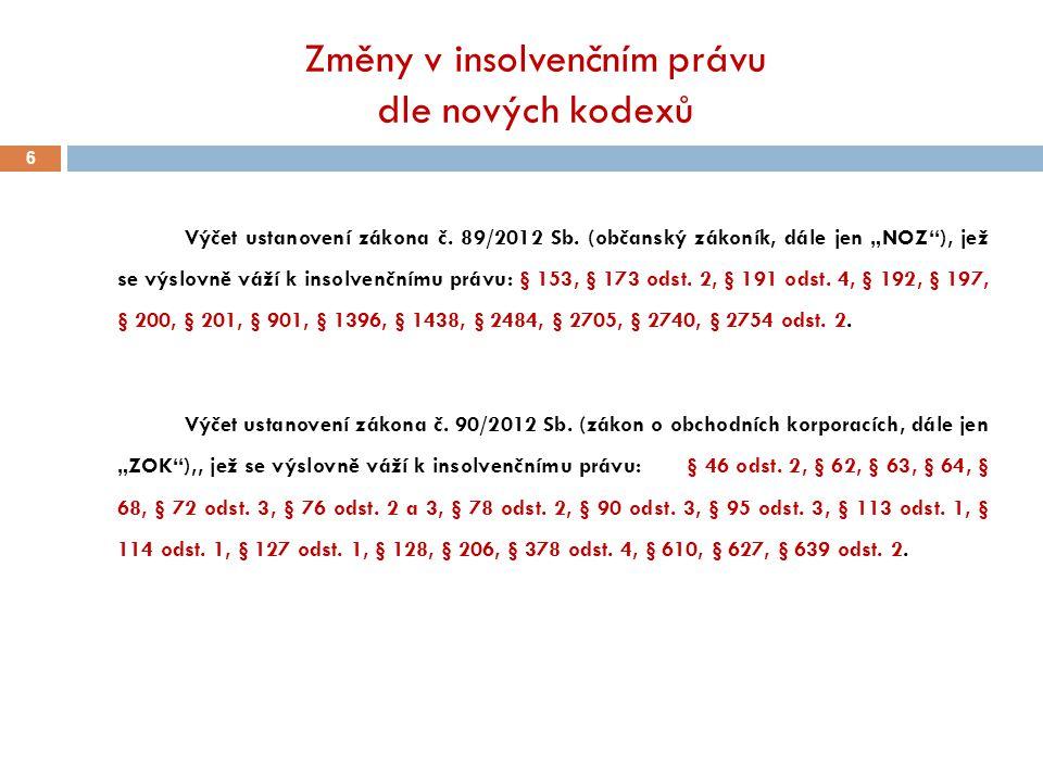 """Změny v insolvenčním právu dle nových kodexů 6 Výčet ustanovení zákona č. 89/2012 Sb. (občanský zákoník, dále jen """"NOZ""""), jež se výslovně váží k insol"""