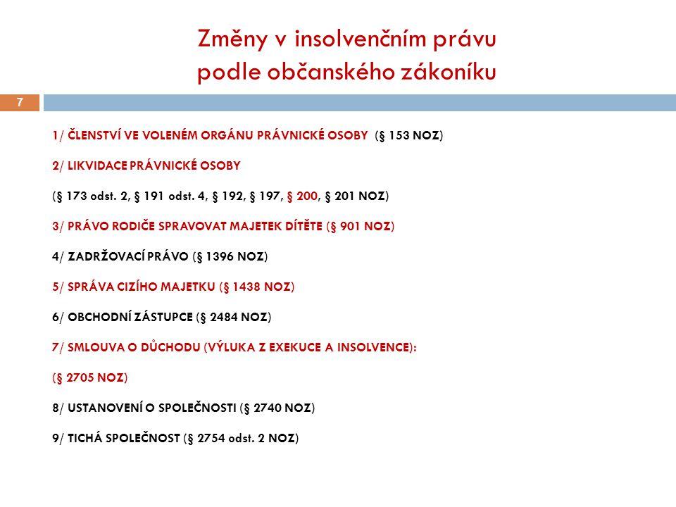 Změny v insolvenčním právu podle občanského zákoníku 7 1/ ČLENSTVÍ VE VOLENÉM ORGÁNU PRÁVNICKÉ OSOBY (§ 153 NOZ) 2/ LIKVIDACE PRÁVNICKÉ OSOBY (§ 173 o