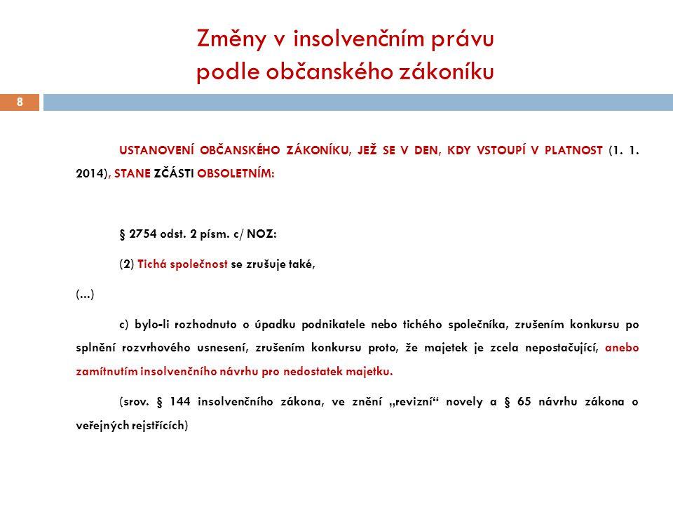 Změny v insolvenčním právu podle občanského zákoníku 8 USTANOVENÍ OBČANSKÉHO ZÁKONÍKU, JEŽ SE V DEN, KDY VSTOUPÍ V PLATNOST (1. 1. 2014), STANE ZČÁSTI
