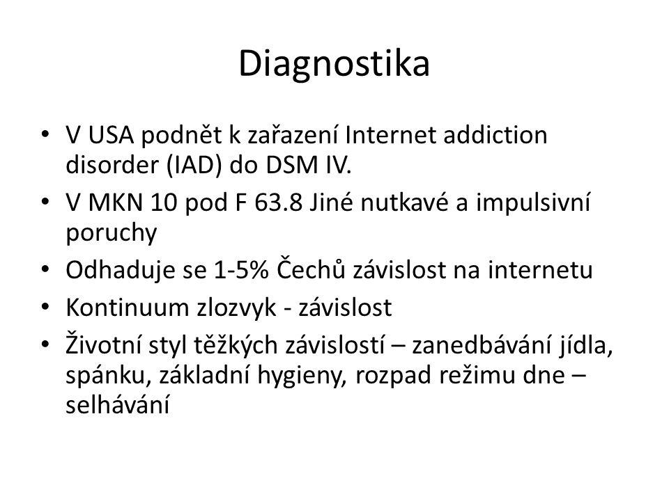 Diagnostika • V USA podnět k zařazení Internet addiction disorder (IAD) do DSM IV. • V MKN 10 pod F 63.8 Jiné nutkavé a impulsivní poruchy • Odhaduje