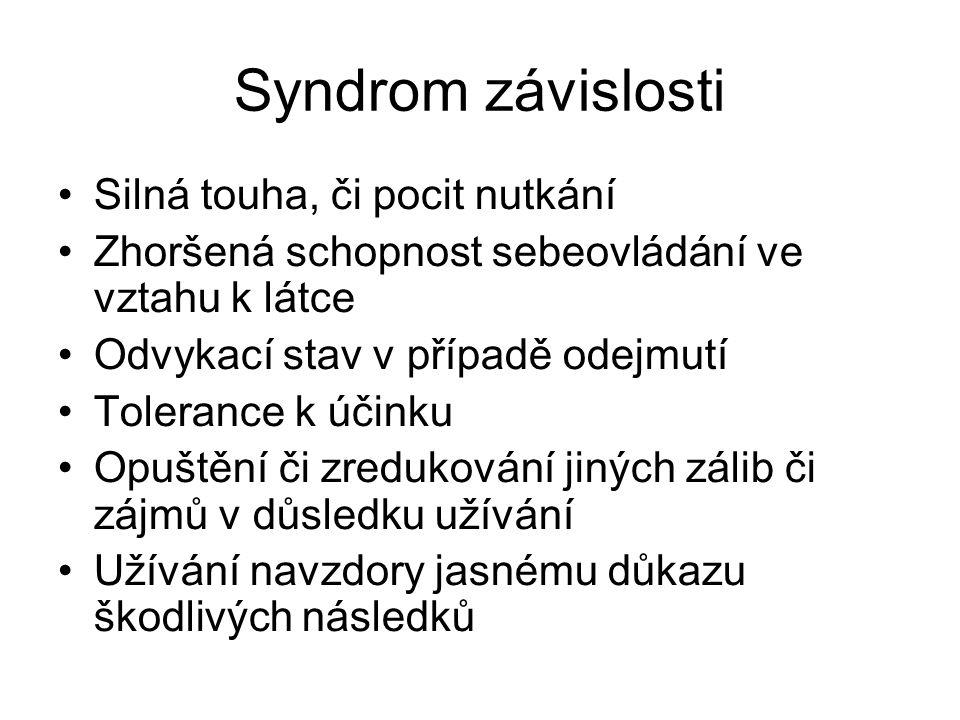 Syndrom závislosti •Silná touha, či pocit nutkání •Zhoršená schopnost sebeovládání ve vztahu k látce •Odvykací stav v případě odejmutí •Tolerance k úč