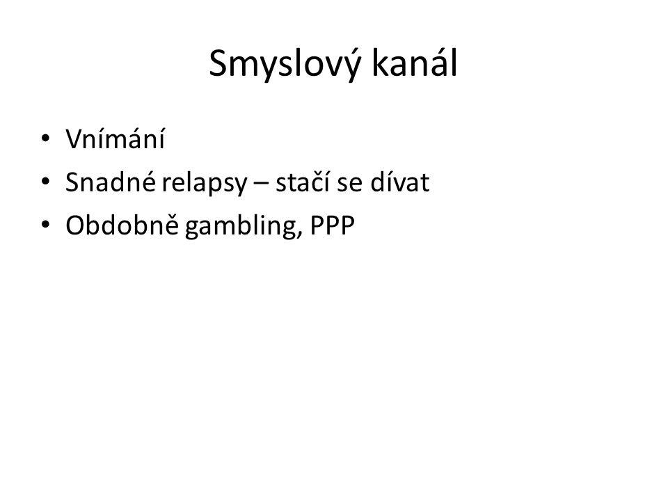 Smyslový kanál • Vnímání • Snadné relapsy – stačí se dívat • Obdobně gambling, PPP