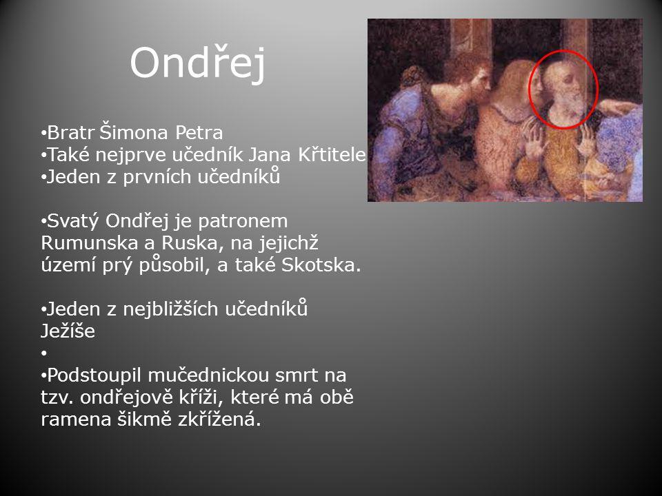 Ondřej • Bratr Šimona Petra • Také nejprve učedník Jana Křtitele • Jeden z prvních učedníků • Svatý Ondřej je patronem Rumunska a Ruska, na jejichž území prý působil, a také Skotska.