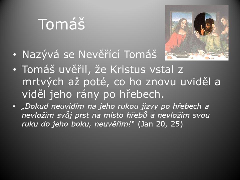"""Tomáš • Nazývá se Nevěřící Tomáš • Tomáš uvěřil, že Kristus vstal z mrtvých až poté, co ho znovu uviděl a viděl jeho rány po hřebech. • """"Dokud neuvidí"""
