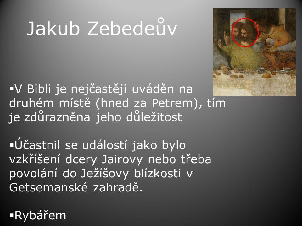 Jakub Zebedeův  V Bibli je nejčastěji uváděn na druhém místě (hned za Petrem), tím je zdůrazněna jeho důležitost  Účastnil se událostí jako bylo vzkříšení dcery Jairovy nebo třeba povolání do Ježíšovy blízkosti v Getsemanské zahradě.