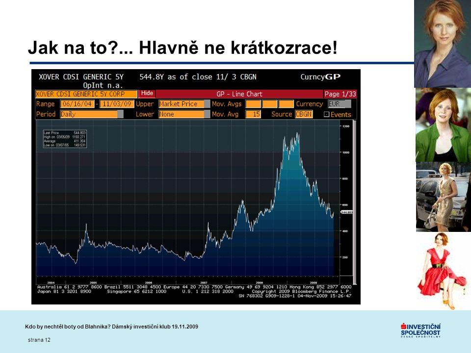 Kdo by nechtěl boty od Blahnika? Dámský investiční klub 19.11.2009 strana 12 Jak na to?... Hlavně ne krátkozrace!