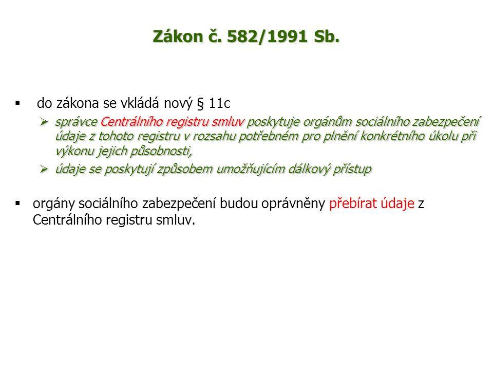 Zákon č. 582/1991 Sb.  do zákona se vkládá nový § 11c  správce Centrálního registru smluv poskytuje orgánům sociálního zabezpečení údaje z tohoto re