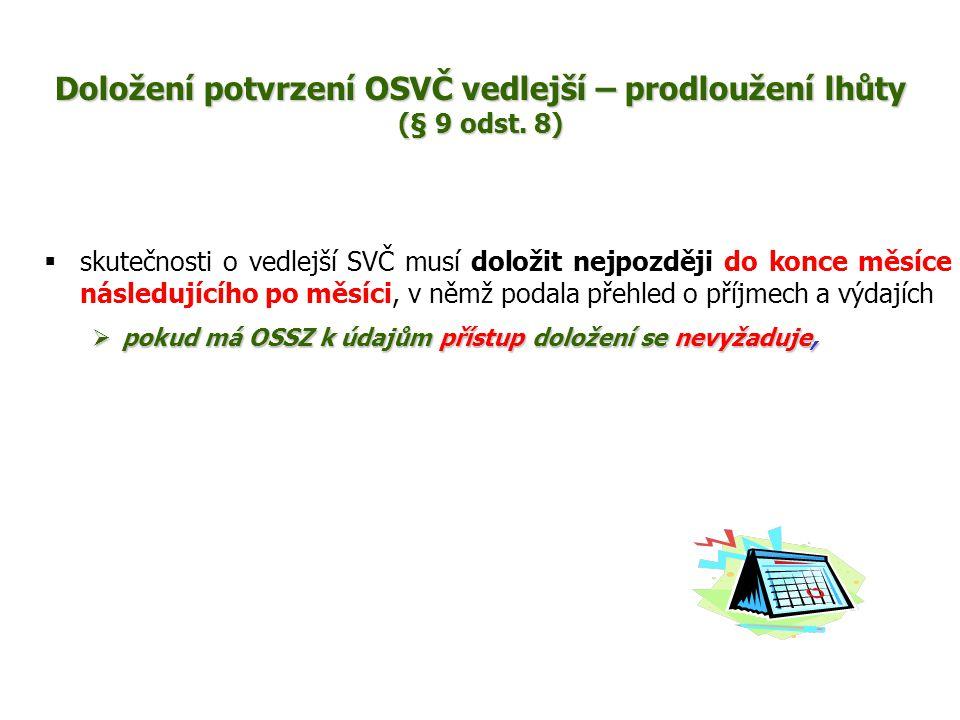  skutečnosti o vedlejší SVČ musí doložit nejpozději do konce měsíce následujícího po měsíci, v němž podala přehled o příjmech a výdajích  pokud má OSSZ k údajům přístup doložení se nevyžaduje, Doložení potvrzení OSVČ vedlejší – prodloužení lhůty (§ 9 odst.