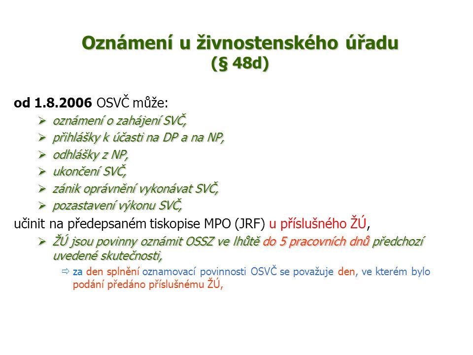 Oznámení u živnostenského úřadu (§ 48d) od 1.8.2006 OSVČ může:  oznámení o zahájení SVČ,  přihlášky k účasti na DP a na NP,  odhlášky z NP,  ukončení SVČ,  zánik oprávnění vykonávat SVČ,  pozastavení výkonu SVČ, učinit na předepsaném tiskopise MPO (JRF) u příslušného ŽÚ,  ŽÚ jsou povinny oznámit OSSZ ve lhůtě do 5 pracovních dnů předchozí uvedené skutečnosti,  za den splnění oznamovací povinnosti OSVČ se považuje den, ve kterém bylo podání předáno příslušnému ŽÚ,