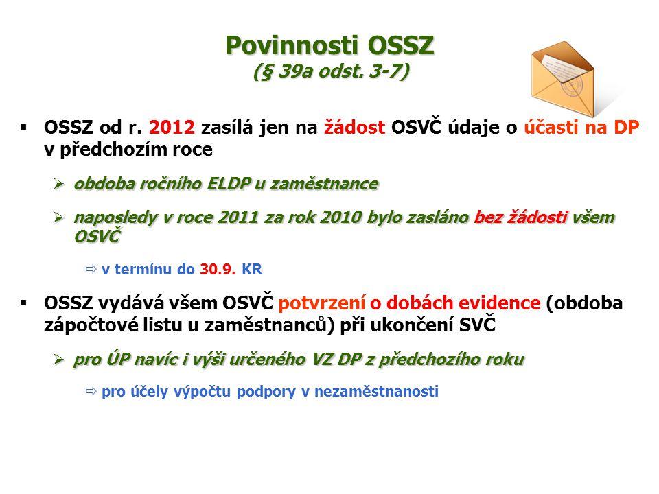 Povinnosti OSSZ (§ 39a odst. 3-7)  OSSZ od r. 2012 zasílá jen na žádost OSVČ údaje o účasti na DP v předchozím roce  obdoba ročního ELDP u zaměstnan