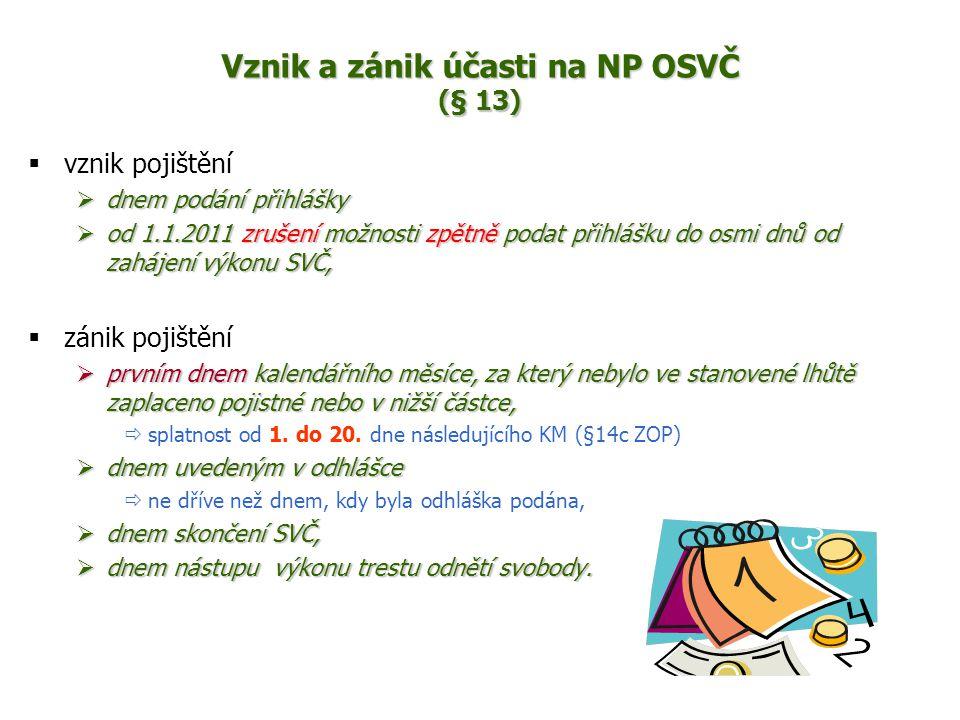Vznik a zánik účasti na NP OSVČ (§ 13)  vznik pojištění  dnem podání přihlášky  od 1.1.2011 zrušení možnosti zpětně podat přihlášku do osmi dnů od