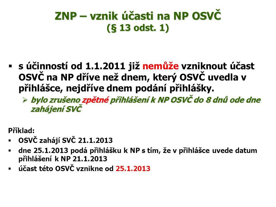 ZNP – vznik účasti na NP OSVČ (§ 13 odst. 1)  s účinností od 1.1.2011 již nemůže vzniknout účast OSVČ na NP dříve než dnem, který OSVČ uvedla v přihl