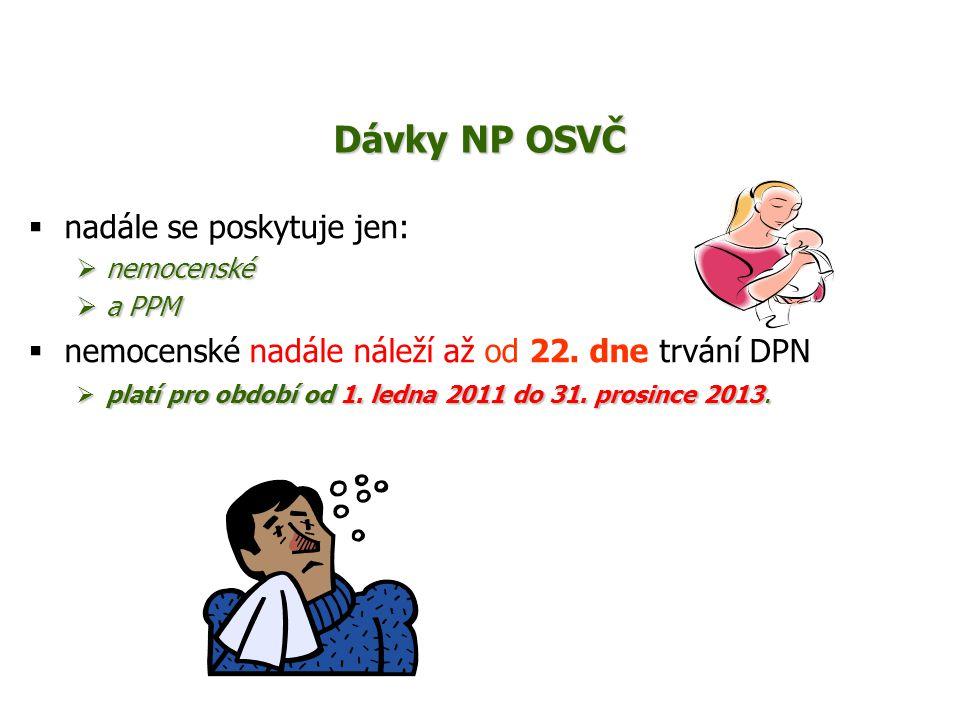 Dávky NP OSVČ  nadále se poskytuje jen:  nemocenské  a PPM  nemocenské nadále náleží až od 22. dne trvání DPN  platí pro období od 1. ledna 2011