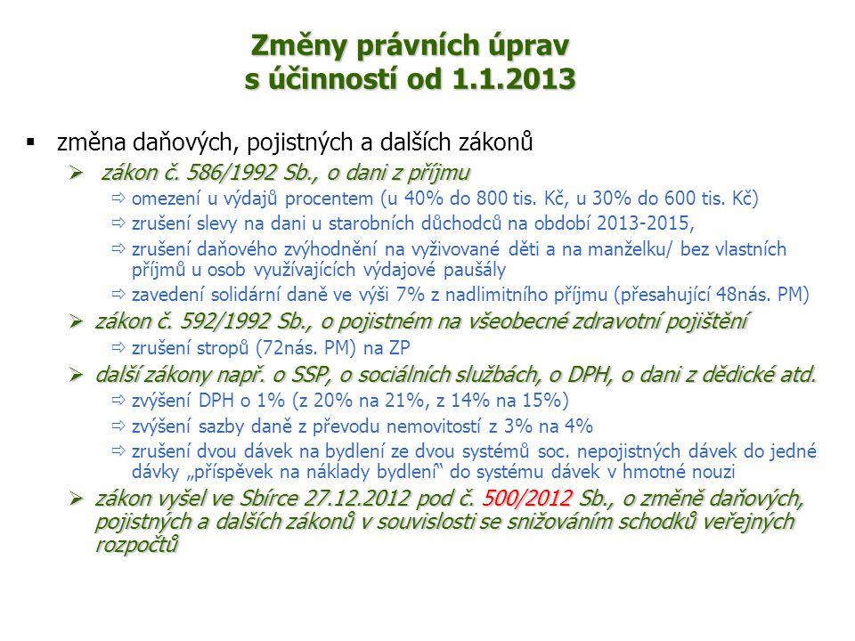 Změny právních úprav s účinností od 1.1.2013  změna daňových, pojistných a dalších zákonů  zákon č. 586/1992 Sb., o dani z příjmu  omezení u výdajů