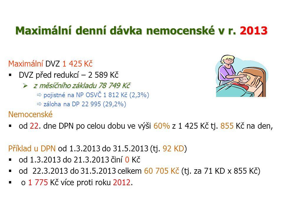 Maximální denní dávka nemocenské v r. 2013 Maximální DVZ 1 425 Kč  DVZ před redukcí – 2 589 Kč  z měsíčního základu 78 749 Kč  pojistné na NP OSVČ