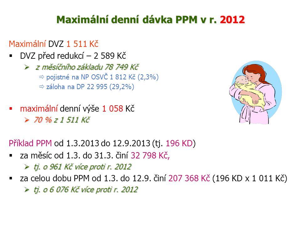 Maximální denní dávka PPM v r. 2012 Maximální DVZ 1 511 Kč  DVZ před redukcí – 2 589 Kč  z měsíčního základu 78 749 Kč  pojistné na NP OSVČ 1 812 K