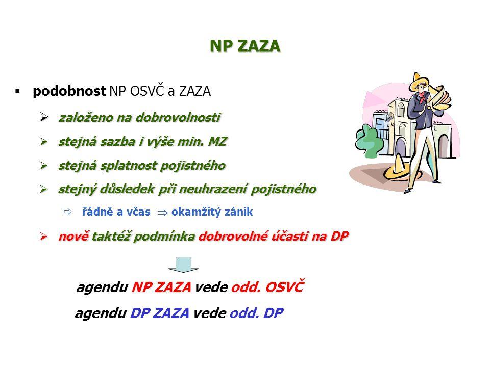 NP ZAZA  podobnost NP OSVČ a ZAZA  založeno na dobrovolnosti  stejná sazba i výše min. MZ  stejná splatnost pojistného  stejný důsledek při neuhr