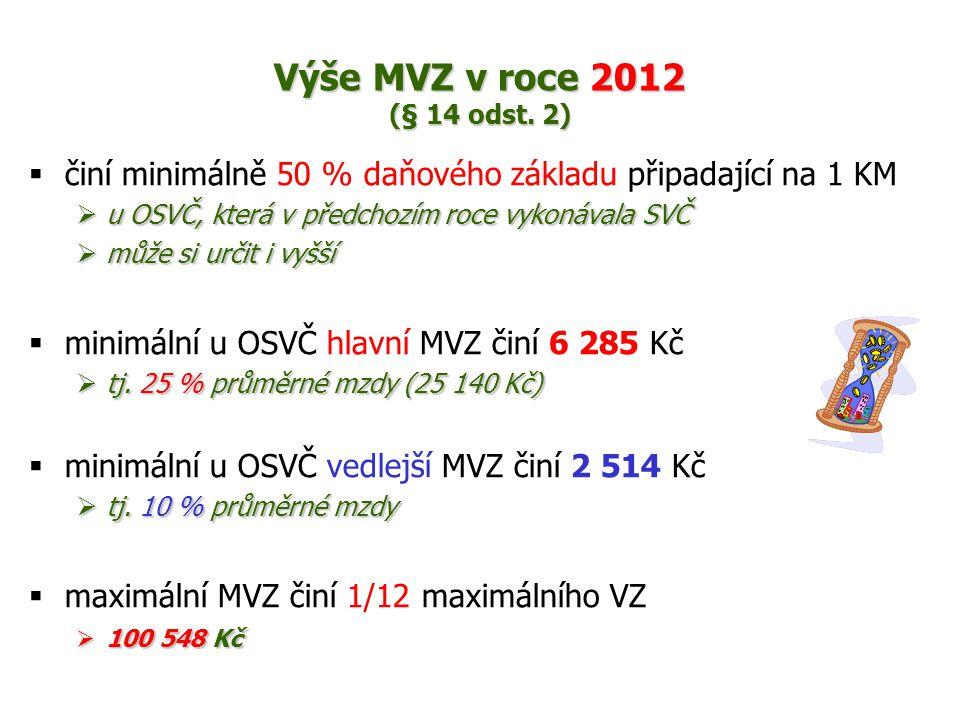 Výše MVZ v roce 2012 (§ 14 odst.