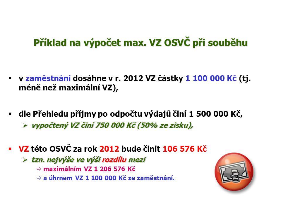 Příklad na výpočet max. VZ OSVČ při souběhu  v zaměstnání dosáhne v r. 2012 VZ částky 1 100 000 Kč (tj. méně než maximální VZ),  dle Přehledu příjmy