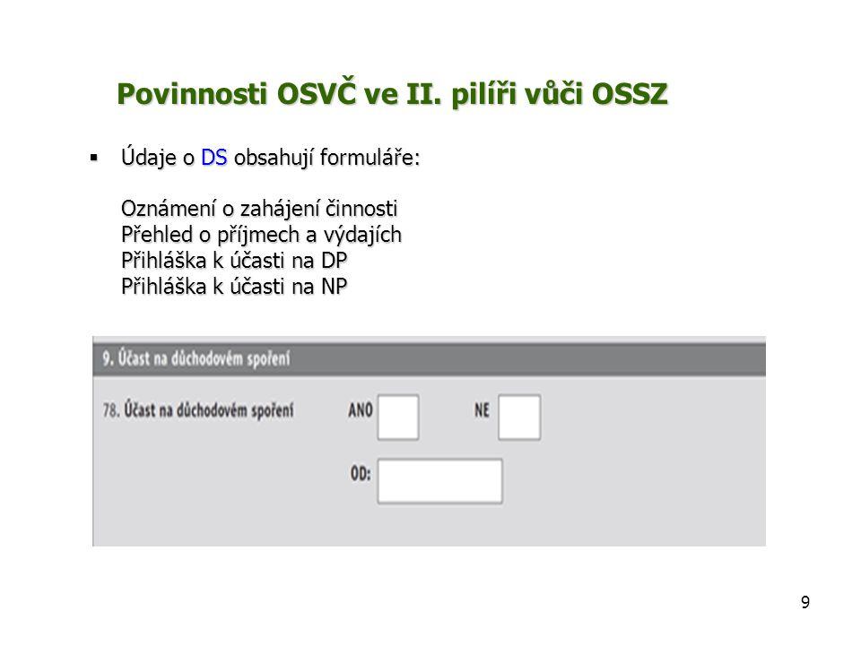  Údaje o DS obsahují formuláře: Oznámení o zahájení činnosti Přehled o příjmech a výdajích Přihláška k účasti na DP Přihláška k účasti na NP Povinnosti OSVČ ve II.