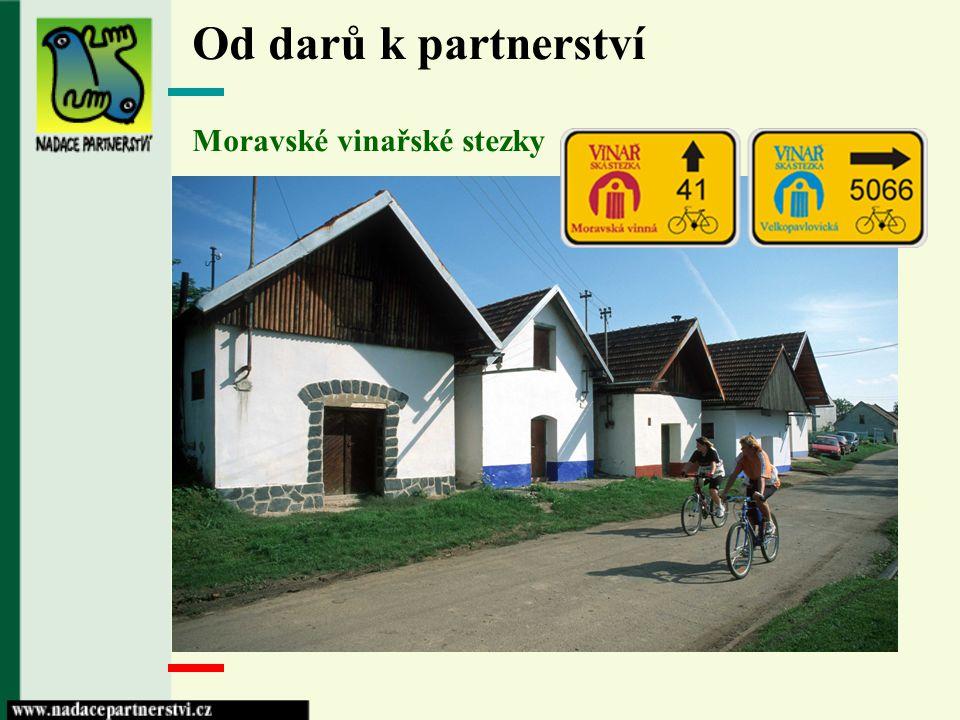 Od darů k partnerství Zelené stezky Greenways Stezky pro udržitelnou mobilitu, šetrnou turistiky a zdraví životní styl - budování širokého veřejného partnerství prostřednictvím stezek - propojování místních projektů - budování regionálních a mezinárodních projektů - Greenways Praha Vídeň, - Moravské vinařské stezky, - Greenways Krakov-Morava-Vídeň.