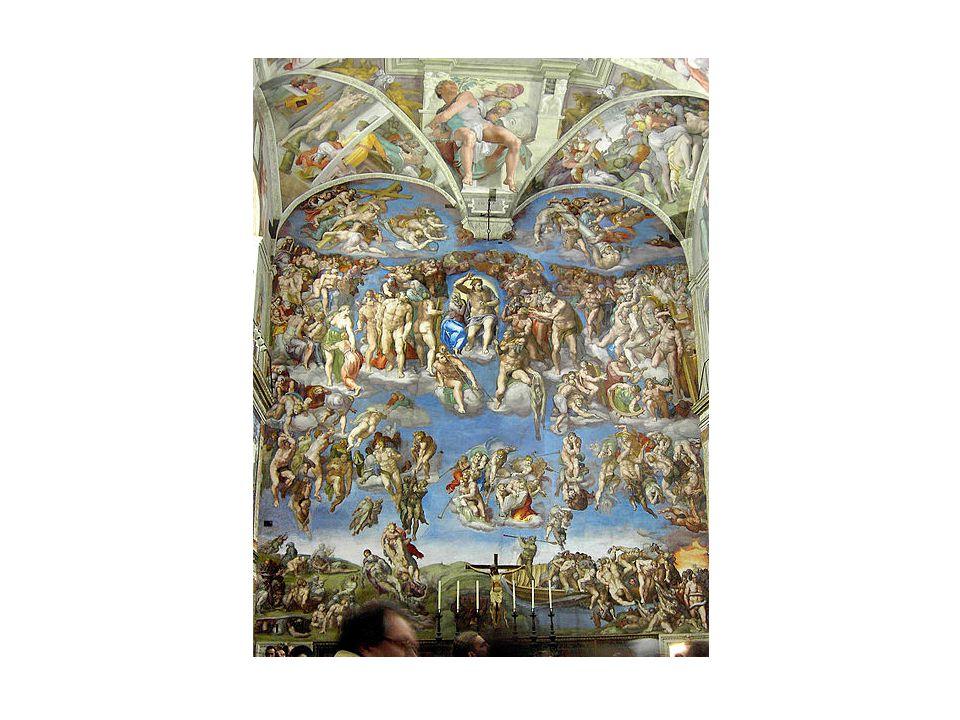 Rafael Santi (1483 – 1520) •v raném díle navázal na Leonarda da Vinci •jeho Madony mají pyramidální kompozici •freska Athénská škola – výzdoba pro papeže •vznešená krása vrcholné renesance, zpodobnění starověkých filizofů na pozadí soudobé architektury •jeho dílo je vzorem akademické hist.