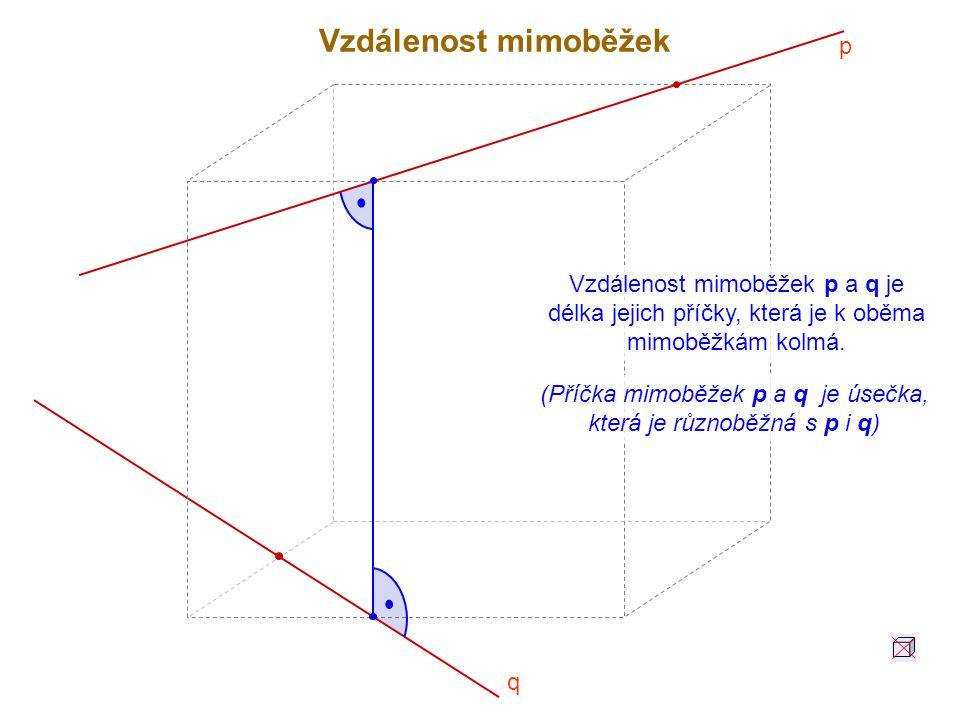 Vzdálenost mimoběžek p a q je délka jejich příčky, která je k oběma mimoběžkám kolmá. (Příčka mimoběžek p a q je úsečka, která je různoběžná s p i q)