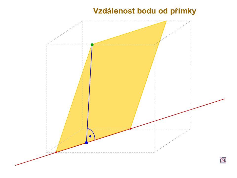 Vzdálenost bodu A od přímky p je délka úsečky AP, kde P je pata kolmice vedené z bodu A k přímce p v rovině Ap.