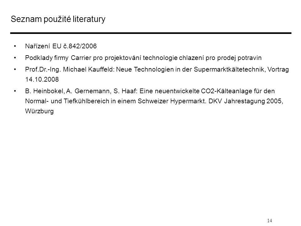14 Seznam použité literatury • •Nařízení EU č.842/2006 • •Podklady firmy Carrier pro projektování technologie chlazení pro prodej potravin • •Prof.Dr.