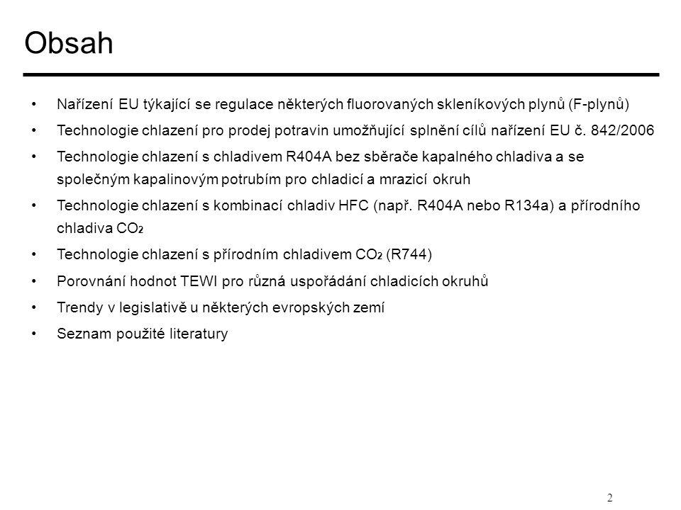 2 Obsah • •Nařízení EU týkající se regulace některých fluorovaných skleníkových plynů (F-plynů) • •Technologie chlazení pro prodej potravin umožňující