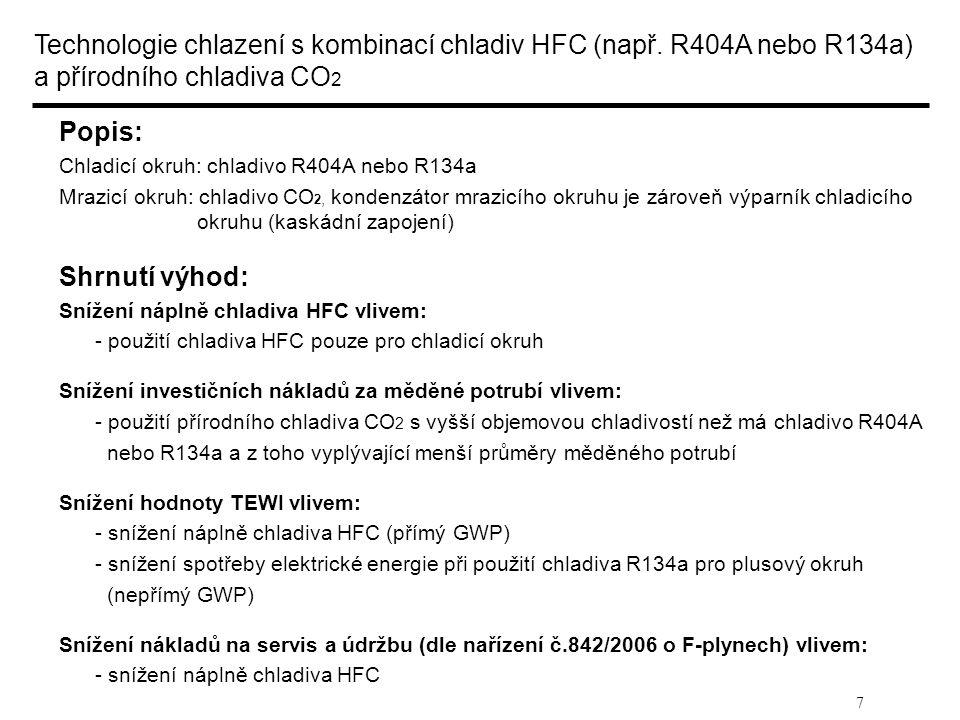 7 Technologie chlazení s kombinací chladiv HFC (např. R404A nebo R134a) a přírodního chladiva CO 2 Popis: Chladicí okruh: chladivo R404A nebo R134a Mr
