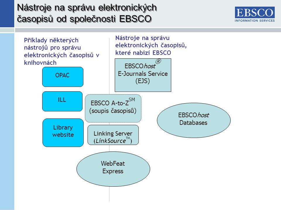 Library website Nástroje na správu elektronických časopisů od společnosti EBSCO WebFeat Express EBSCO A-to-Z SM (soupis časopisů) EBSCOhost ® E-Journals Service (EJS) Příklady některých nástrojů pro správu elektronických časopisů v knihovnách Nástroje na správu elektronických časopisů, které nabizí EBSCO Linking Server (LinkSource TM ) OPAC ILL EBSCOhost Databases
