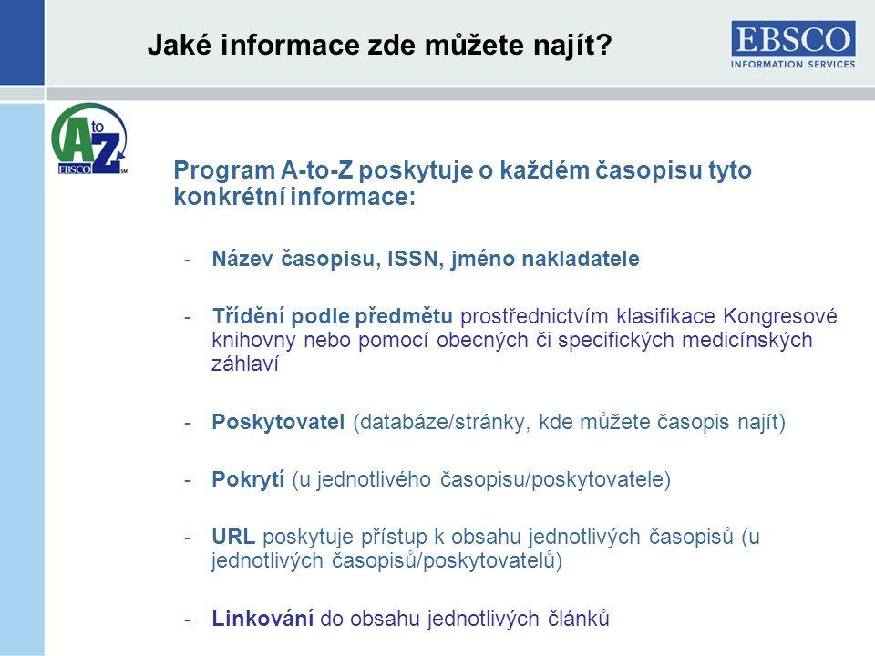 Jaké informace zde můžete najít.
