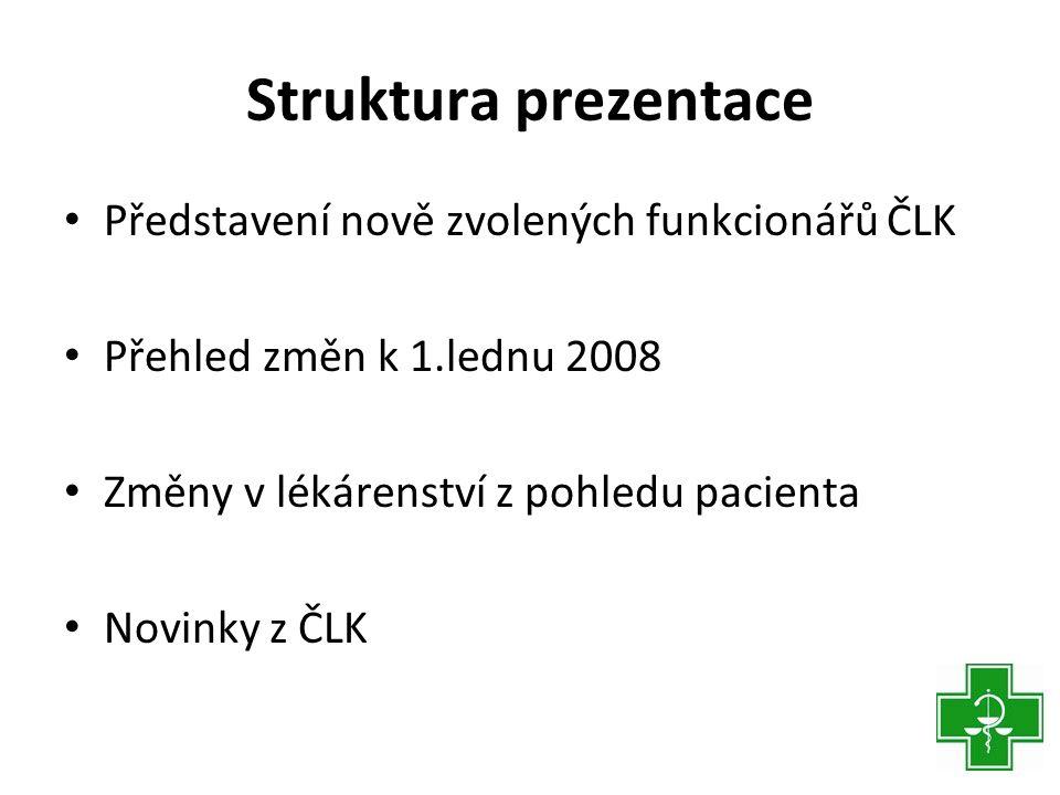 Představení nově zvolených funkcionářů ČLK PREZIDENT ČLK - Mgr.Stanislav Havlíček (1973) 1996absolutorium FaF UK Hradec Králové 2003atestace 1.