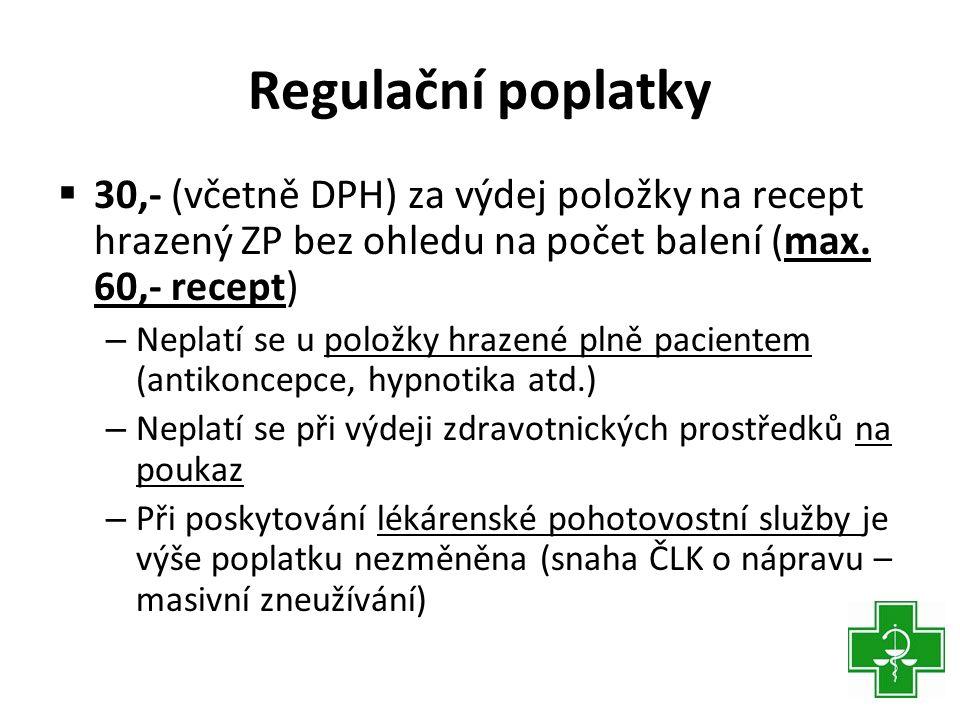 Regulační poplatky  30,- (včetně DPH) za výdej položky na recept hrazený ZP bez ohledu na počet balení (max.
