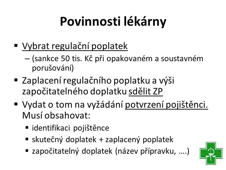 Povinnosti lékárny  Vybrat regulační poplatek – (sankce 50 tis.