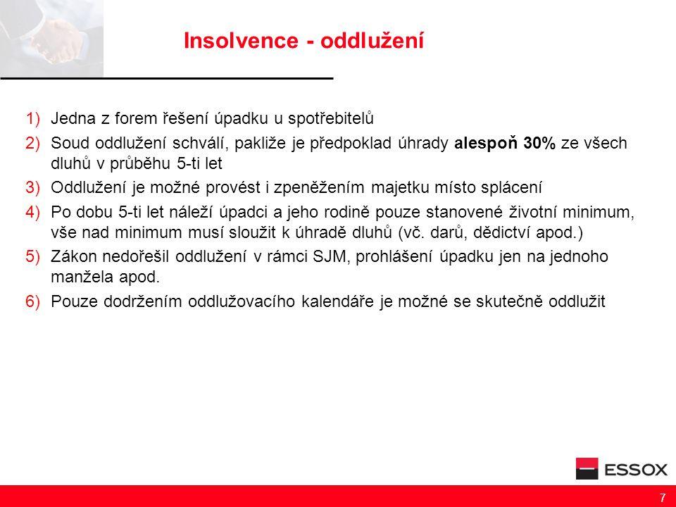 Insolvence - oddlužení 1)Jedna z forem řešení úpadku u spotřebitelů 2)Soud oddlužení schválí, pakliže je předpoklad úhrady alespoň 30% ze všech dluhů